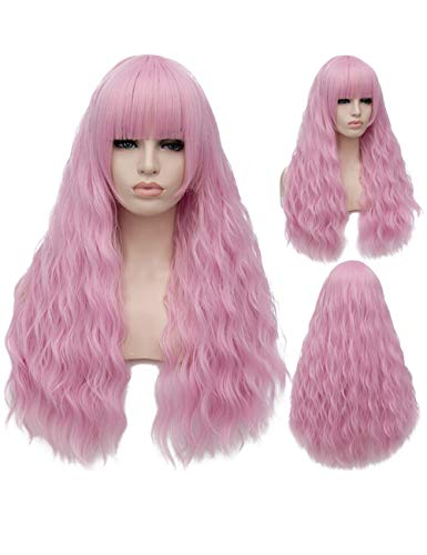 TopWigy Pink Cosplay Wig Long Fluffy Curly Wavy Colorful Costume Wigs for Women Girl Synthetic Party Wigs (Pink 28