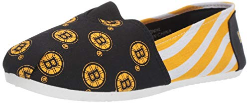 Forever Collectibles NHL Boston Bruins Women's Canvas Stripe Shoes, Large (9-10), Black