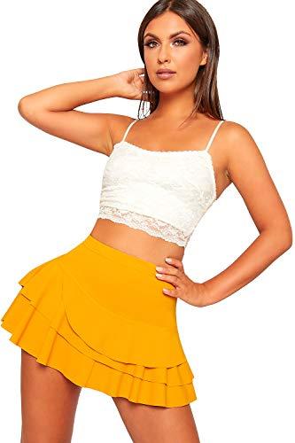 - WearAll Women's Frill Trim RARA Skirt High Waisted Plain Skort Stretch Shorts - Mustard - US 4 (UK 8)