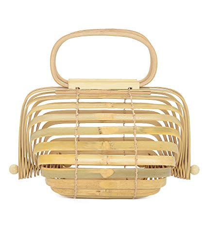 Miuco Women Bamboo Bag Handmade Basket Nest Large Bag Hollow Tote Lantern Beach Bag Natural Small