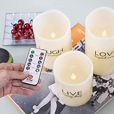 LIVE LAUGH LOVE Flameless Candles by FVM - Flickering LED Lights - Home Decor Relaxation and Stress Reduction Gifts - Living Room Kitchen and Bedroom Decoration Ideas - Safe for Kids and Pets: Home Improvement