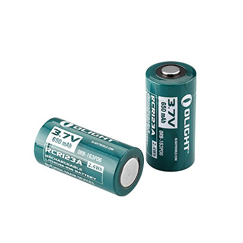 Olight 650mAh 16340 RCR123A 3.7v Lithium-ion Rechargeable Batteries Design for Olight S MINI SMINI H1 Headlamp S1 S10R S10C S10 S10R II Flashlights(2mm longer than stardard batteries)