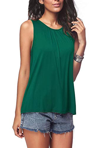 Bloggerlove Womens Loose Sleeveless Tops Basic T Shirts Tank Dark Green L