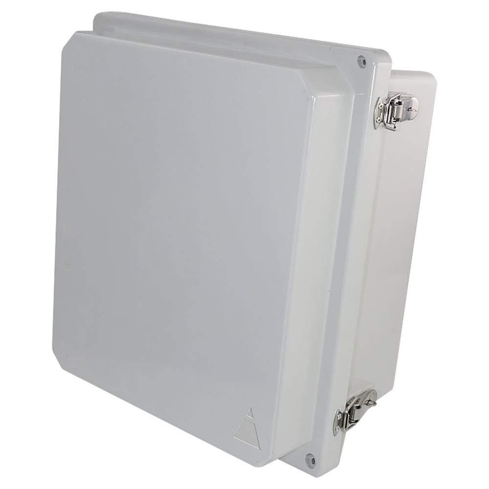 Altelix 14x12x8 FRP Fiberglass NEMA 4X Box Weatherproof Enclosure with Hinged Lid & Stainless Steel Latches
