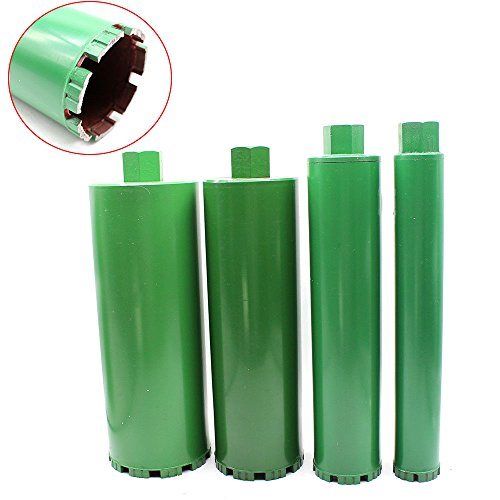 Wet Diamond, 4PCS Set Combo Wet Diamond Core Drill Bit fit Concrete/Granite/Marble Hole Saw 2'' /3'' /4''/ 5'' Suitable for Thread Diameter of the Water Drill is 22 mm (Premium Green Series) ()