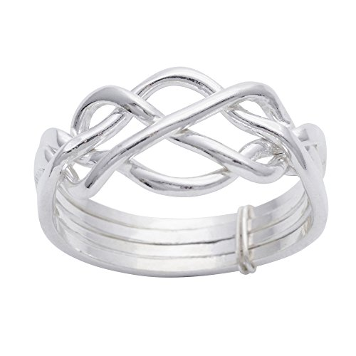 Silverly Women's Men's .925 Sterling Silver Traditional Celtic Knot Twist Four Band Puzzle Ring ()