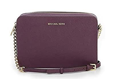a12c3c0c8939 Image Unavailable. Image not available for. Color: MICHAEL KORS Jet Set  Travel Large Saffiano Leather Crossbody (Damson)
