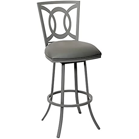 Armen Living LCDR30BAGR Drake 30 Bar Height Barstool In Grey Faux Leather And Grey Metal Finish