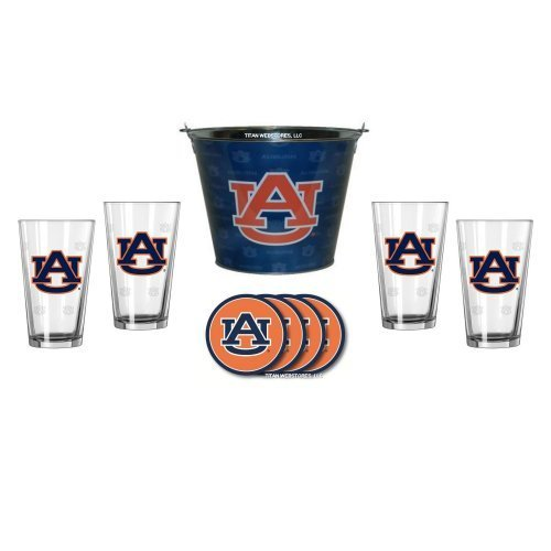 NCAA Auburn - Tonal Wrap Ice Bucket, Pint Glasses (4) & Vinyl Coasters (4) Set | Auburn Tigers Beer Bucket Gift Set