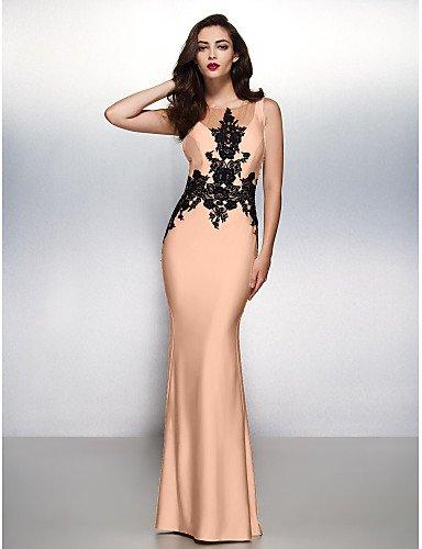 Trompeta Barrer Noche Negro Formal Sirena Boca Cuello Con Vestido Jersey Pink amp;OB Pearl Gala Tren Apliques HY Cepillo Prom Lazo De vqwEXgxg