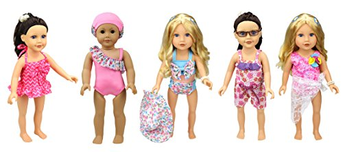 XADP 5 Sets American Girl Summer Doll Clothes Hawaii Holiday Beach Party Swimsuit Sets Fits American Girl, Our Generation, Journey Girls by XADP