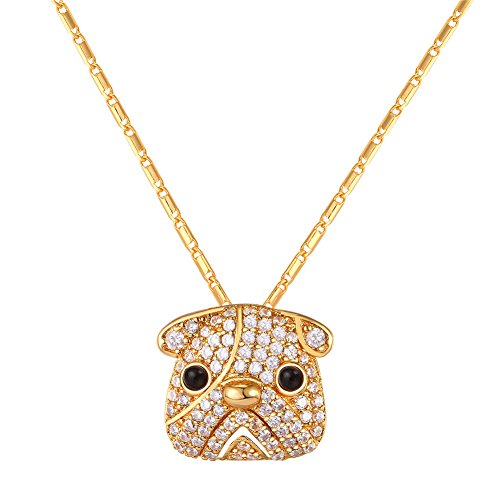 Gold Pug Dog Charm (Pug Dog Pendant Cute Necklace with Chain 18K Gold Plated Cubic Zirconia Crystal Pendants)