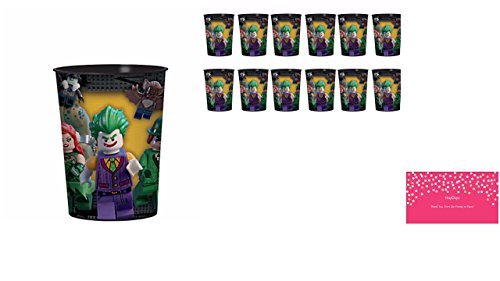 12 Count Lego Batman Movie 16 oz. Plastic Favor Cups Birthday Party Supplies