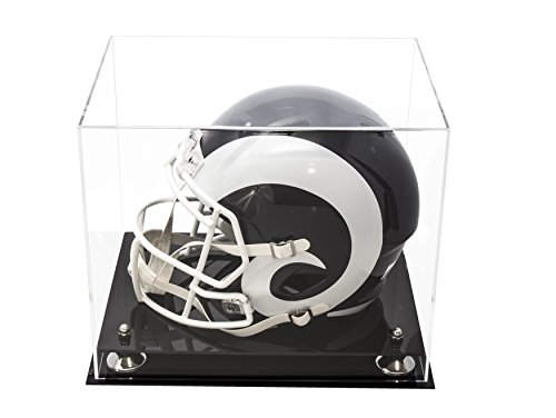 Deluxe Clear Acrylic Football Helmet Display Case with Silver Risers (A002-SR)