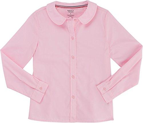 Pink Blouse Shirt (French Toast School Uniform Girls Long Sleeve Modern Peter Pan Blouse, Pink, 7)