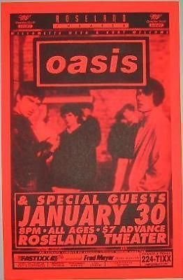 Oasis Liam Noel Gallagher EARLY US Concert Tour Poster Liam Gallagher Oasis
