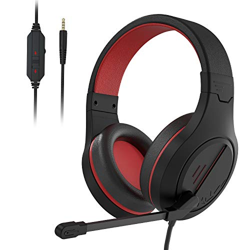 PS4 Gaming Headset Headphone MH601-Over Ear Setero PC Gaming Headset with Microphone,Noise Canceling 3.5mm Jack for PS4 New Xbox One/Mac/PC/Computer(Black Red)