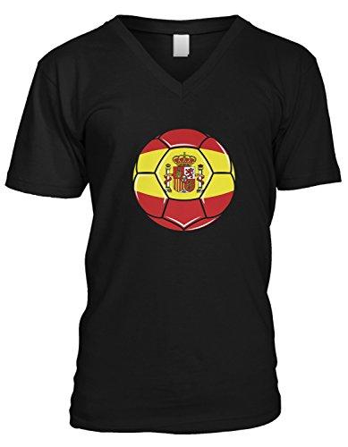 (Amdesco Men's Spain Soccer Ball, Espana Flag, Team Spain V-Neck T-Shirt, Black Medium)
