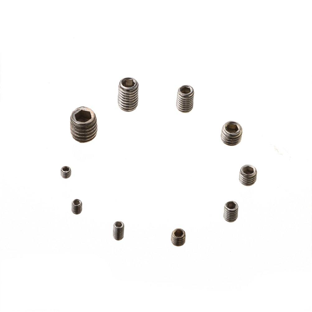 UKCOCO 200 st/ück Innensechskant Schraube M3 M4 M5 M6 M8 Gewindestifte Sechskantschraube Sortiment Kit mit Box