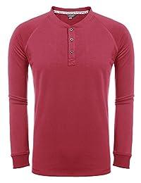 COOFANDY Men's Casual Raglan Henley Shirts Long Sleeve Fashion T-Shirt
