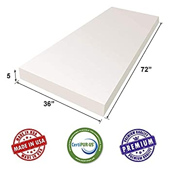 Image of AK TRADING CO. CertiPUR-US Certified Upholstery Foam Cushion Best for Seat Cushion, Furniture Cushion, Bedding Support & Foam Mattress - 5' H x 36' W x 72' L Home and Kitchen