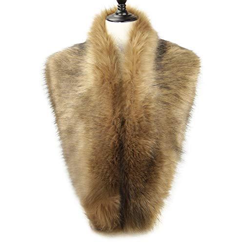 Dikoaina Extra Large Women's Faux Fur Collar for Winter Coat (100cm, Deep ()