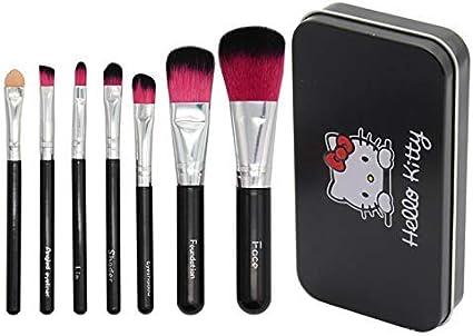 Kit Mini juego de Brochas de Maquillaje Hello Kitty con caja de metal. Set de 7 piezas de pinceles de maquillaje para niñas.: Amazon.es: Belleza