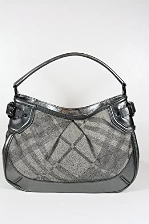 b3f444d8125b Image Unavailable. Image not available for. Color  Burberry Handbags Trench  Check (Metallic Gray) Canvas and Leather 3712560