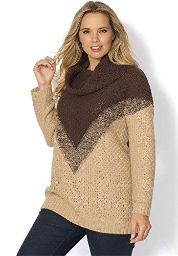 Women's Plus Size Ombre Marl Pattern Sweater – Small, Chocolate Khaki