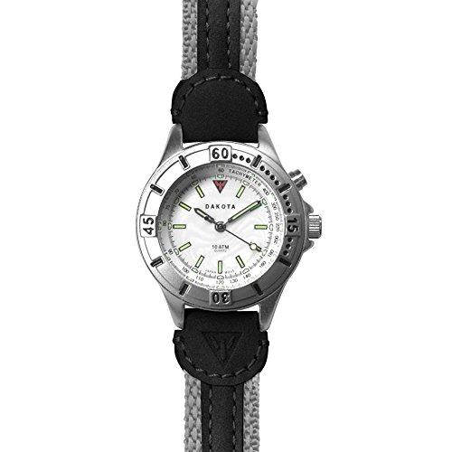 - Dakota Women's Nylon Leather Sting Ray EL Watch, 34 mm, Small, Grey/Black