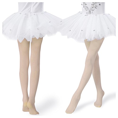 Girls Tights Ultra-soft Footed Dance Sockings Ballet/Transition Tight Kids Super Elasticity Tights (Small, 2 Pair-Skin,Skin) ()
