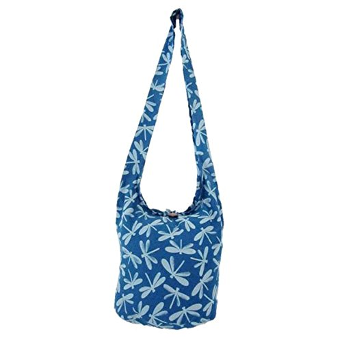 Ocean Hippie Boho for Shoulder Sling Hobo Purse Crossbody Dragonfly Women Thai Deep Medium Blue Bag Purse x06tHgw
