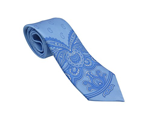 (Brioni Italy Men's Light Blue Paisley Silk Skinny Neck)