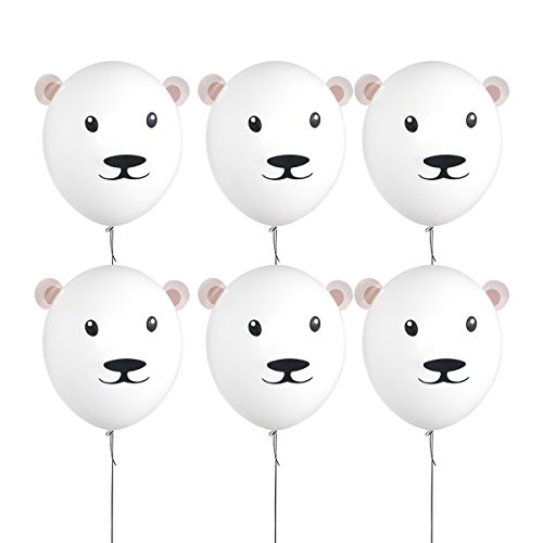 18 Inch White Latex Balloons Party Bear Balloons for Teddy Bear Decorations for Baby Shower Boy Girl Birthday Party Supplies,Bear Party Favors,Bear Gifts for Girls Kids(6 Pack) -
