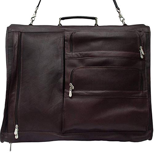 Piel Custom Personalized Leather Traveler Executive Expandable Garment Bag in Chocolate