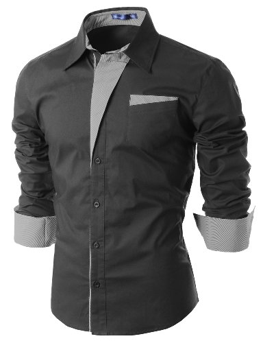 Non Iron Twill Stripe Dress Shirt (Doublju Mens Dress Shirt with Contrast Detail CHARCOAL)