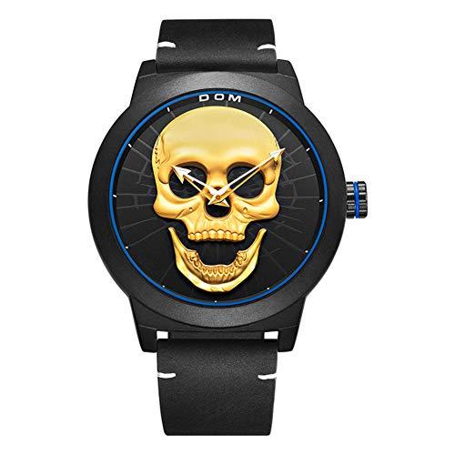 Men's Skull Head Waterproof Quartz Watch Stainless Steel Mesh Strap Watches (Black)