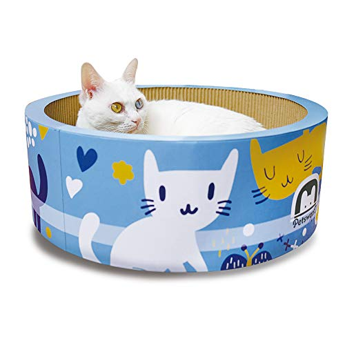Aseeya Cat Bed Scratching Post Scratch Kitty Scratcher Board Rascador De Gato Pet Gift Kitten Toy Indoor Furniture Lounger Lounge Round Pad Cardboard Corrugated Durable Blue Small