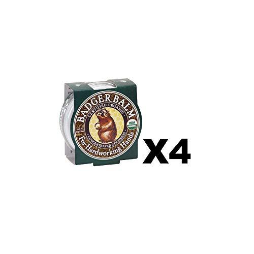 Badger Balm 2oz Tin Organic Healing Hand Moisturizer Cracked Dry Skin (4-Pack)