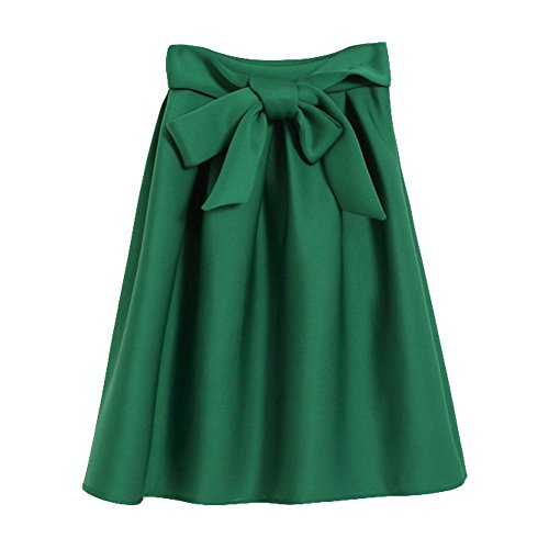 New Women Autumn Winter Thick Cotton Skirts Middle Umbrella Skirts With Bow (L, green) (Joker Suit For Sale)