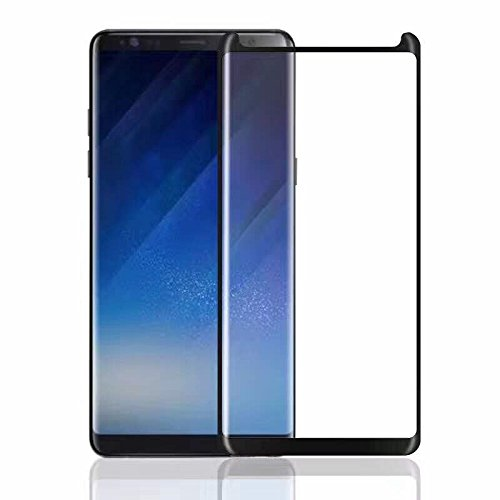 EiZiTEK EcoLight Series 0.33mm Premium Quality Samsung Galaxy Note 8 [ Note8 Phone 2017 Model ] Case Friendly Curved Tempered Glass Screen Protector . (Note 8 Case Compatible Black : With Side Border)