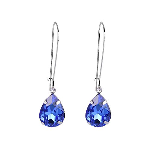 EVER FAITH Women's Austrian Crystal Elegant Teardrop Hook Dangle Earrings Sapphire Color Silver-Tone
