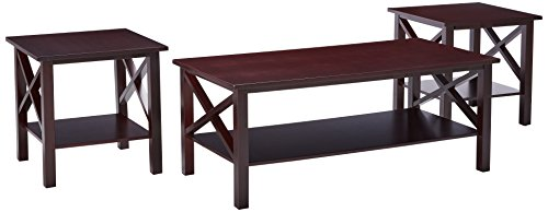 Kingu0027s Brand 3 Pc. Cherry Finish Wood X Style Casual Coffee Table U0026 2 End  Tables Occasional Set