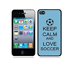 iphone covers Keep Calm And Love Soccer Aqua - Protective Designer BLACK Case - Fits Apple Iphone 6 plus / 4G