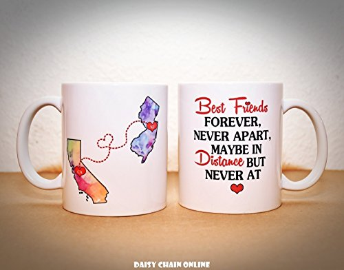 Best Friend Long Distance Mug - Going Away Gift - Moving Away Present - BFF Coffee Mug - Personalized with Your Custom Quote, Personalize with Any States, Countries - 11 oz or 15 oz ONE MUG