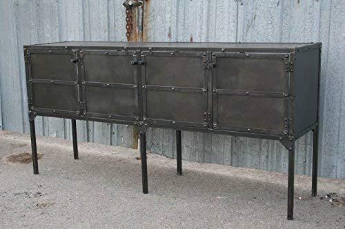 Modern industrial TV stand. Vintage credenza. Distressed steel. Rustic