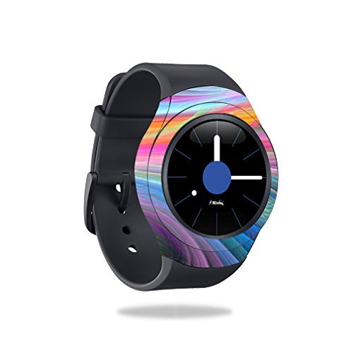 MightySkins Skin Compatible with Samsung Gear S2 Smart Watch Cover wrap Sticker Skins Rainbow Waves by MightySkins