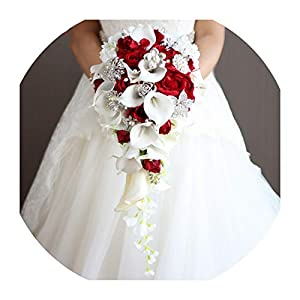 Lady Night Artificial Flowers Waterfall Wedding Bouquets with Crystal Bridal Brooch Bouquets Brides Bouquet De Mariage 94