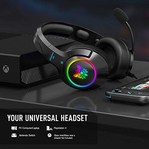 ONIKUMA Gaming Headset for PS4, PS5, PC, Xbox one (Adapter Not Included), Laptop, Noise Canceling Gaming Headphone with…