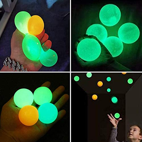 Glow in The Dark Ceiling Balls,Stress Balls for Adults and Kids,Glow Sticky Balls,Squishy Toys for Kids,Figit Toys,Sensory Toys,Stress Toys,Gifts for Adults and Kids